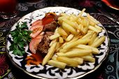 Veal Kebab With Fried Potatoes