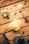 Scented Candle Sea Shells Wooden Background