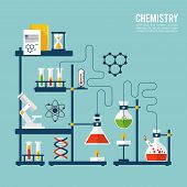 foto of structure  - Chemistry background template with microscope atom and dna structure vector illustration - JPG