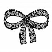 Decorative Lacy Bow On White Background