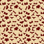 Brown Lingerie On Beige Background Seamless Pattern