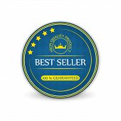 Best seller vector label with royal crown on a white background