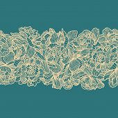 Seamless Peony Flowers Border On Blue Background