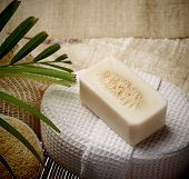 The special scrub soap on spa set for healthy skin