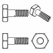 stock photo of bolt  - Stainless steel bolt and nut - JPG