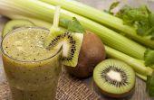Cocktail Of Kiwi, Celery, Parsley, Cilantro With Green Tea.