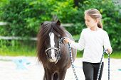 picture of pony  - a girl and pony for a walk - JPG