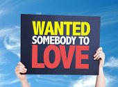 image of breakup  - Wanted Somebody to Love card with sky background - JPG