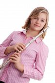 foto of preteen  - A preteen with her flute - JPG