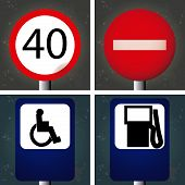 picture of traffic signal  - Set of textured backgrounds with traffic signals - JPG