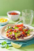 stock photo of kidney beans  - vegan taco with vegetable - JPG