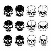 stock photo of skull  - Skulls set - JPG