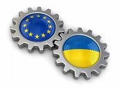 picture of snatch  - Ukrainian and European union flags on a gears - JPG