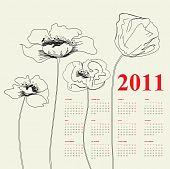 Calendar For 2011 With Poppy Flowers