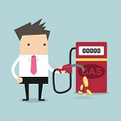 stock photo of gasoline station  - Businessman and gas station money vector illustration - JPG