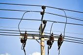 picture of electrical engineering  - Electric pillar in the electric network  - JPG