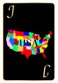 stock photo of joker  - Outline map of the United States of America used as the Joker motif in a playing card - JPG