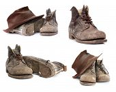 picture of work boots  - Old work boots and battered hat - JPG