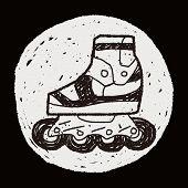 stock photo of roller-derby  - Roller Skate Doodle - JPG