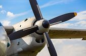 stock photo of propeller plane  - Propeller of old airplane close up - JPG