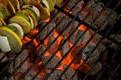 Skewers On Charcoal Grill