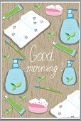 picture of toothpaste  - background with a set of bath soap - JPG