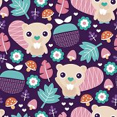picture of beaver  - Seamless adorable beaver fruit and blossom woodland illustration kids colorful background pattern in vector - JPG