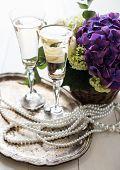 stock photo of wedding table decor  - Big bouquet of fresh flowers - JPG