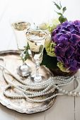foto of wedding table decor  - Big bouquet of fresh flowers - JPG