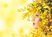 stock photo of mimosa  - Nature beauty makeup and style with mimosa - JPG
