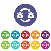 image of yen  - Colored set of round icons with wallets with dollar and yen symbols on it - JPG