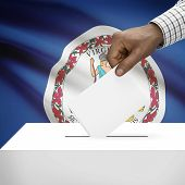 foto of virginia  - Ballot box with US state flag on background  - JPG
