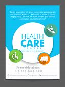 picture of health center  - White and blue flyer with colorful medical icons for Health Care Center - JPG