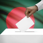 picture of bangladesh  - Ballot box with flag on background  - JPG