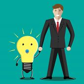 foto of lightbulb  - Businessman character teaching little lightbulb baby to walk - JPG