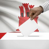 stock photo of gibraltar  - Ballot box with flag on background  - JPG