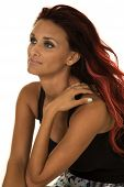 foto of chest hair  - A woman in her business dress looking to the side with red hair - JPG