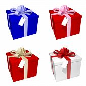 4 different coloured giftboxes over white background rendered illustration