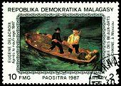 Vintage  Postage Stamp. Eugene Delacroix. After The Shipwreck.