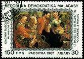 Vintage  Postage Stamp. Joachim Bueskelaer. To Walk.