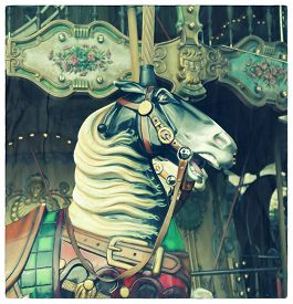 picture of carousel horse  - Horse in a carousel at the fair - JPG