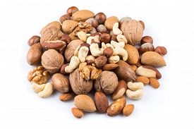 stock photo of mixed nut  - Variety of Mixed Nuts Isolated on White Background - JPG