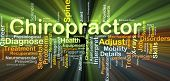 Background concept wordcloud illustration of chiropractor glowing light poster