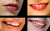 stock photo of pouty lips  - Four photos of woman - JPG