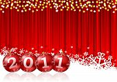 stock photo of new years celebration  - 2011 new year illustration with christmas balls - JPG