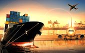 Постер, плакат: Container Ship In Import export Port Against Beautiful Morning Light Of Loading Ship Yard Use For Fr