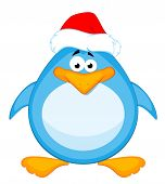 stock photo of santa claus hat  - cartoon little penguin on a white background for a design - JPG