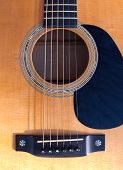 Guitar Soundhole, Bridge, And Fingerboard