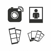 ������, ������: Photo camera icon Flash light and selfie frame