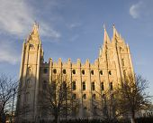 Salt Lake Temple South Side At Dusk